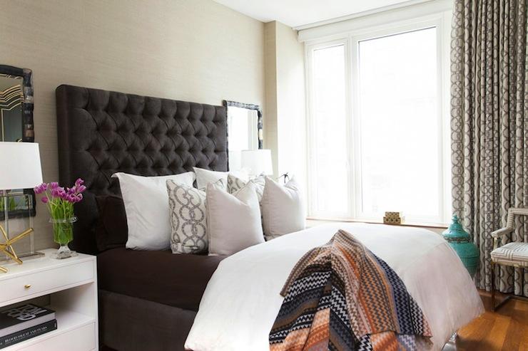 Gray velvet curtains contemporary bedroom palmerston for Velvet bedroom designs