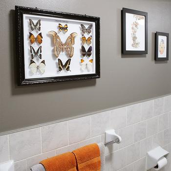Gray and Orange Bathroom Design