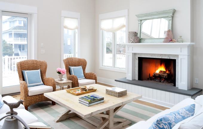 Wicker Chairs - Cottage - living room - Benjamin Moore Winds ...