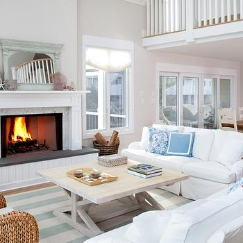 Trestle Coffee Table, Cottage, living room, Benjamin Moore Winds Breath, Erica Burns Interiors