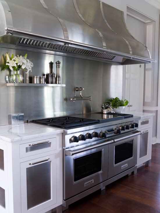 Floating Stainless Steel Shelf - Transitional - kitchen - Vicente ...