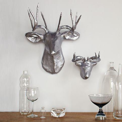 Papier Mache Animal Sculptures Silver Deer West Elm