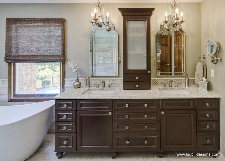 Custom Bathroom Double Vanities custom double sink vanity. walnut double vanity view full
