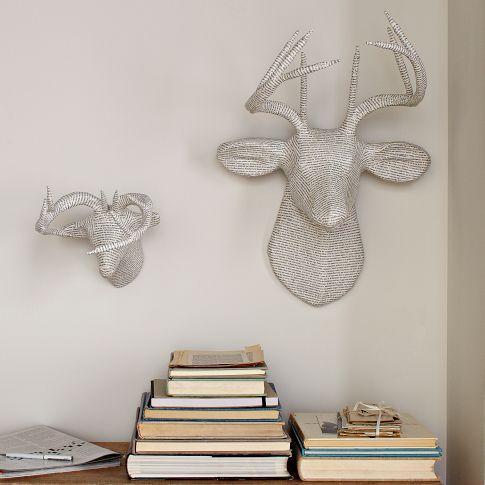 papier mache animal sculptures newsprint deer west elm