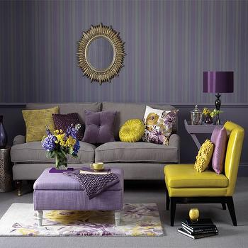 Genial Gray And Purple Living Room