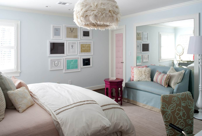 Pink and Blue Teen Bedroom view full size. Teen Girls Room Design Ideas