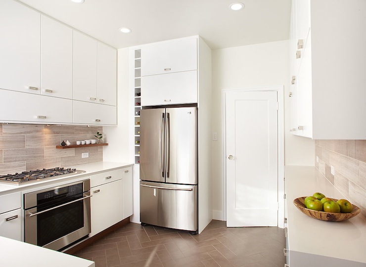 White Frameless Kitchen Cabinets Contemporary Kitchen W David