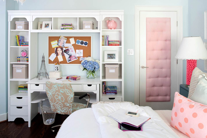 Pink and blue teen bedroom contemporary girl 39 s room kristin peake interiors - How to decorate a pink bedroom ...