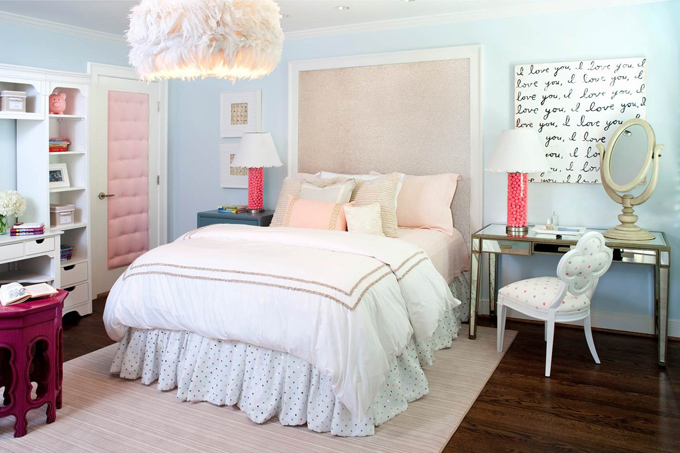 Pink and blue teen bedroom contemporary girl 39 s room Blue teenage bedroom