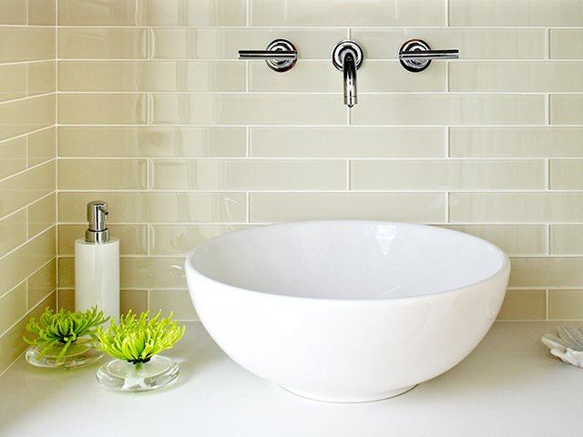 Beau Delightfully Zen Bathroom Niche With Gray Linear Tile Backsplash And  Polished Nickel Wall Mount Faucet Kit Above A Gorgeous White Round Vessel  Sink.