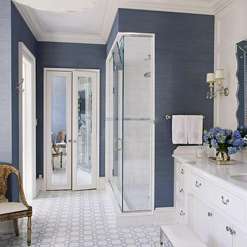 Closet Doors With Grasscloth Wallpaper Transitional
