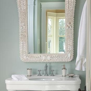 Seashell Pedestal Sink : ... , hanging over a gorgeous Pottery Barn Parisian Pedestal Single Sink