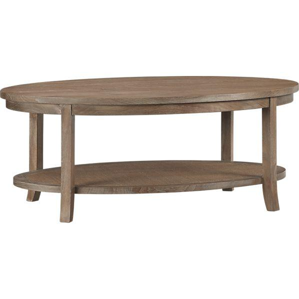Oval Coffee Table With Shelf.Blake Grey Wash Oval Coffee Table Crate And Barrel