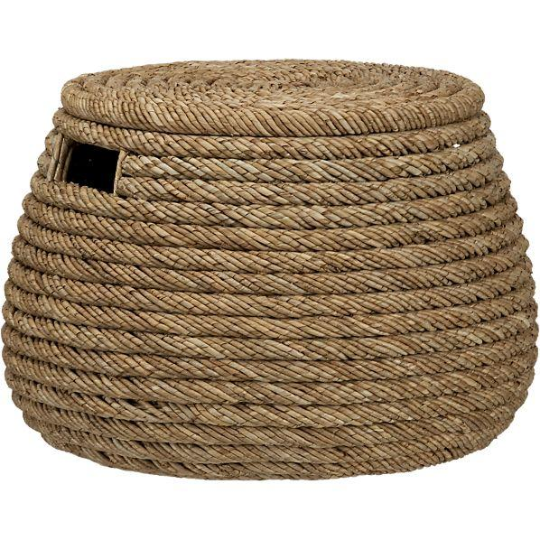 Roll Weave Storage Basket-Ottoman - Crate and Barrel - Weave Storage Basket-Ottoman - Crate And Barrel