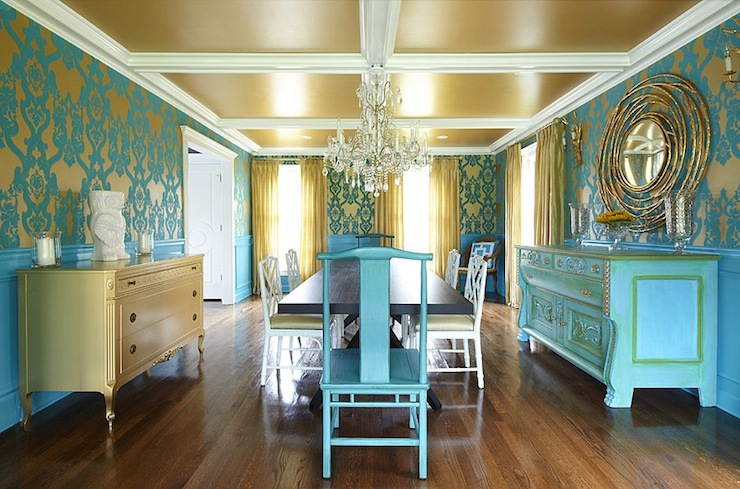 Turquoise Dining Room Eclectic Plum