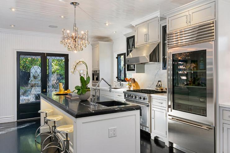 Dream Kitchen Design With Black Leaded Glass French Doors Leading To  Courtyard Patio With Fountain. Jeff Lewis Design Part 69