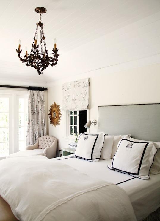 White And Cream Monogram Bedding Design Ideas
