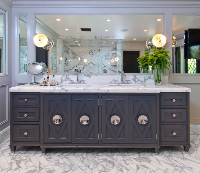 Gray double vanity contemporary bathroom jeff lewis for Jeff lewis bedroom designs