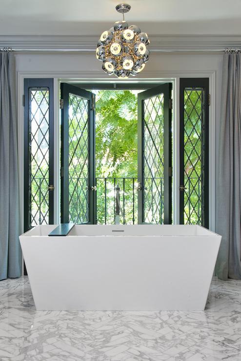 Black french doors contemporary bathroom jeff lewis for Jeff lewis bathroom design ideas