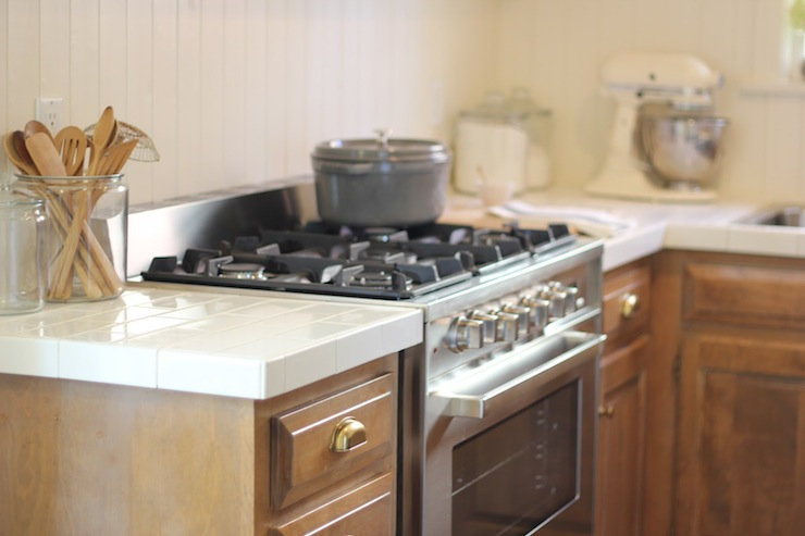 Subway Tile Countertops Cottage, White Kitchen Cabinets With Tile Countertops