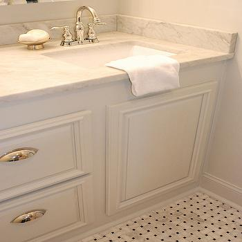 Captivating White Bathroom Vanity With Marble Top