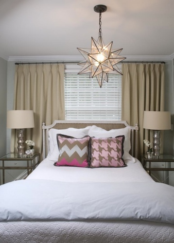 Bed in front of window contemporary girl 39 s room liz carroll interiors Master bedroom bed against window