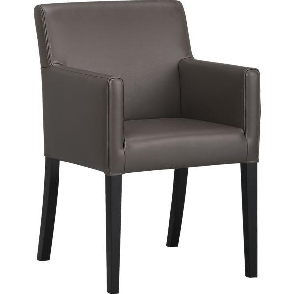 Lowe smoke leather arm chair crate and barrel - Crate and barrel parsons chair ...
