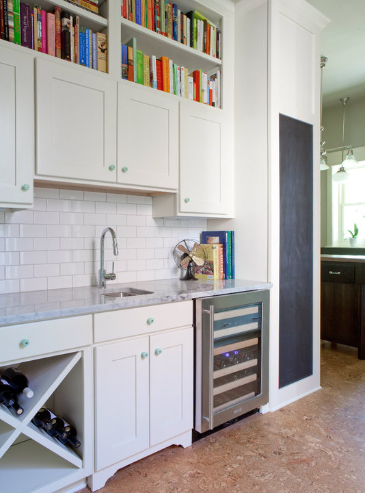 Lovely Butleru0027s Pantry In Cottage Kitchen With White Shaker Cabinets With  Carrara Marble Countertops Against White Subway Tile Backsplash.