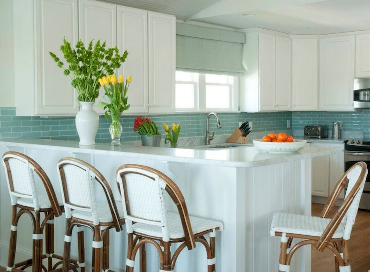 blue glass tile backsplash - cottage - kitchen - phoebe howard