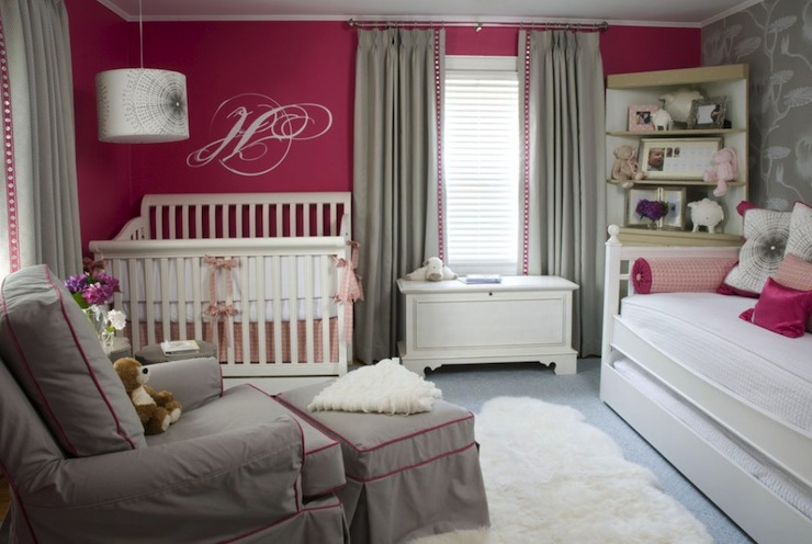 gray and pink nursery - contemporary - nursery