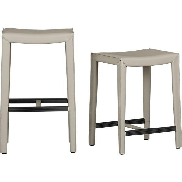 Oyster Leather Backless Barstools Crate and Barrel
