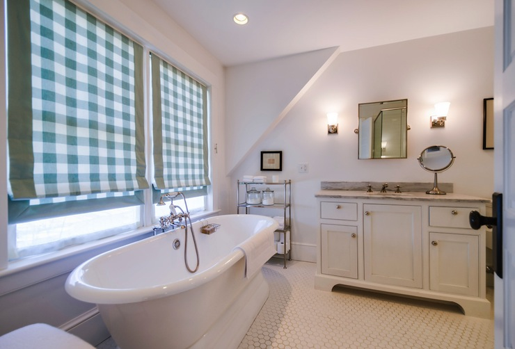 Gingham Roman Shades Country Bathroom Henhurst Interiors