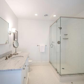 Subway Tile Shower Surround, Vintage Hex Floor Tiles, Transitional, bathroom, Henhurst Interiors