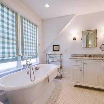 Gingham Roman Shades, Country, bathroom, Henhurst Interiors