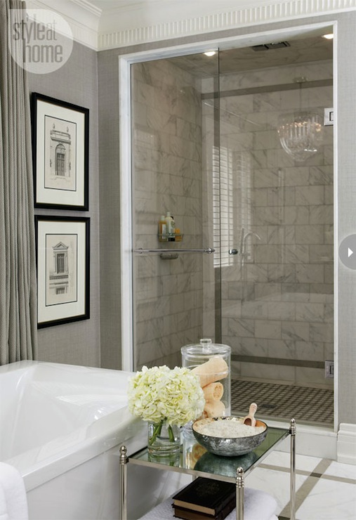 Gray bathroom transitional bathroom style at home for Bathroom fashion