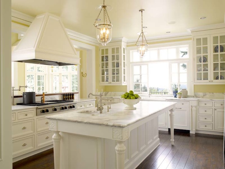 White and Yellow Kitchen - Traditional - kitchen - Sullivan Conard ...