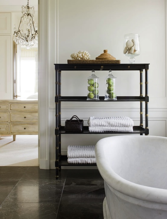 Amazing Master Bathroom With Black Marble Tile Floor Contrasting  Beautifully With White Walls.