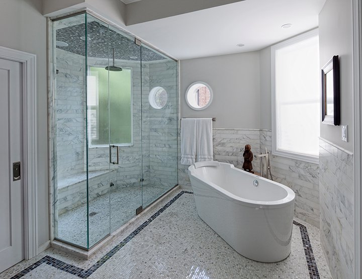 Enclosed Glass Shower Modern Bathroom Space Architects Planners