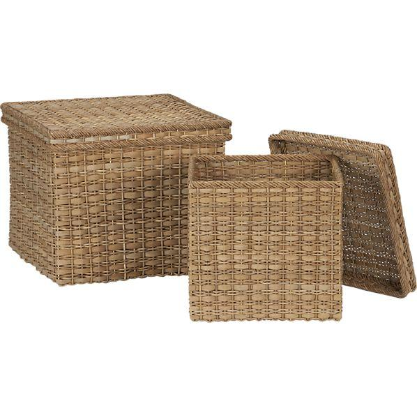 Charming Palma Square Lidded Baskets   Crate And Barrel