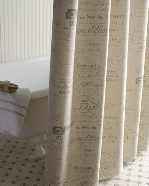 Horchow French Script Shower Curtain Look 4 Less