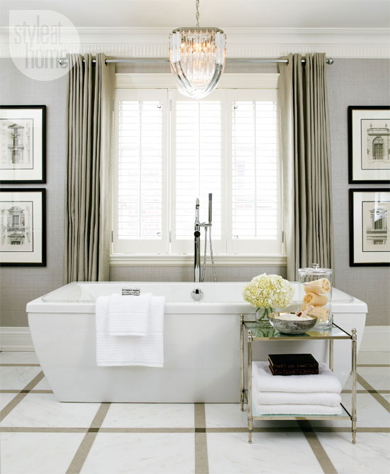 Chandelier Over Bathtub Transitional Bathroom Style