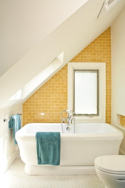 Yellow subway tile contemporary bathroom renewal for Bathroom design build