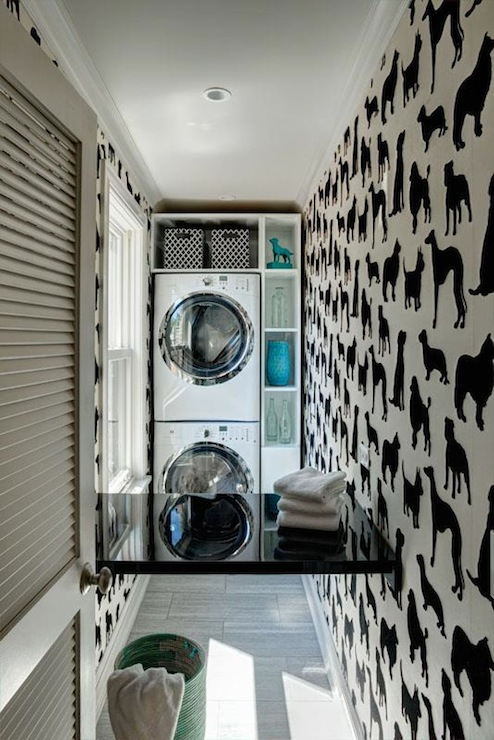 dog wallpaper eclectic laundry room space architects