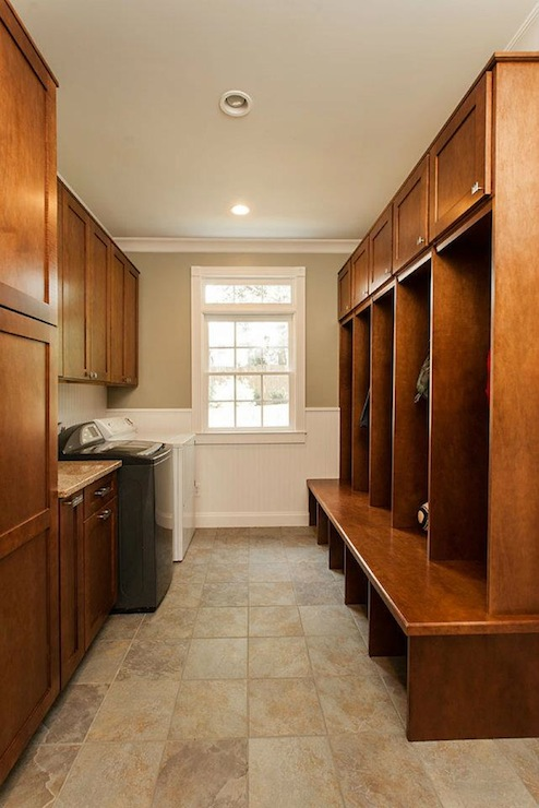 Floating mudroom bench transitional laundry room for Mudroom floors