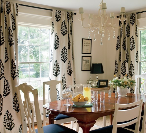 Medallion drapes cottage dining room nicole yee for Dining room drapes