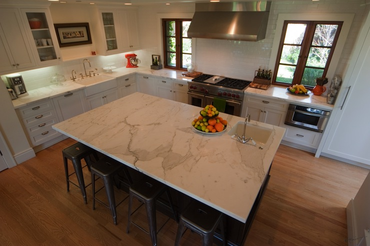 Calcutta Marble Countertop Contemporary Kitchen