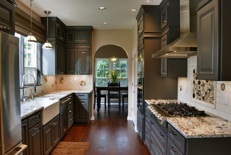 Gray Kitchen Cabinets With Granite Countertops gray kitchen cabinets - contemporary - kitchen - behr dark granite