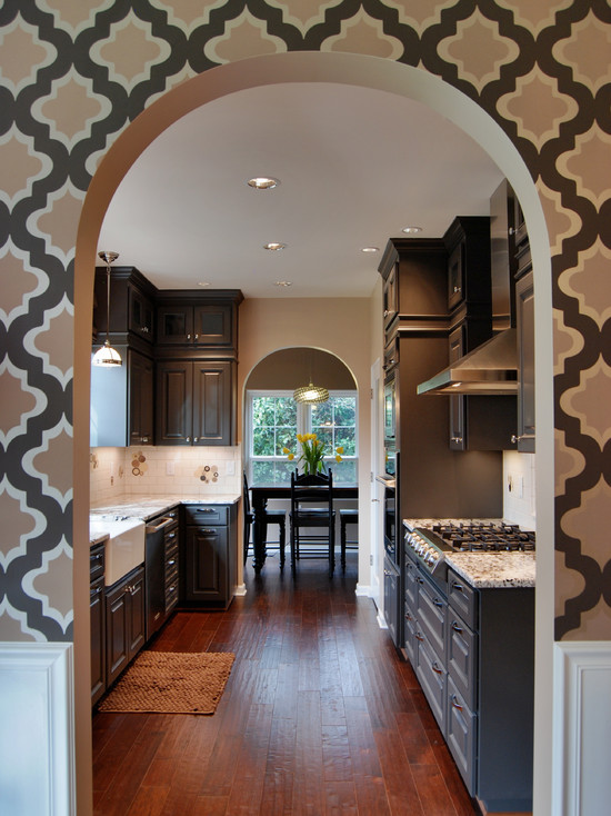 Quatrefoil Wallpaper Contemporary Kitchen Behr Dark