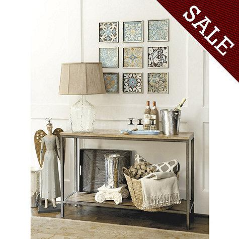 Mixed Material 2 Drawer Wood And Metal Console Table