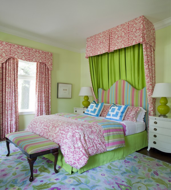 Cheery And Fun Pink, Green And Turquoise Girlu0027s Bedroom With Pale Green  Walls And Pink Damask Drapes And Dramatic Damask Canopy Behind A Curvy  Striped ...